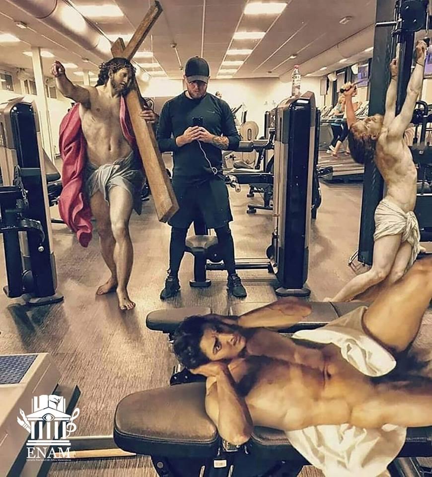 Meme – Arte renacentista – un día normal en el gimnasio