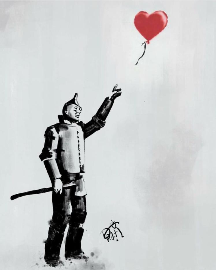 Meme – streetart – hombre de lata corazón bansky